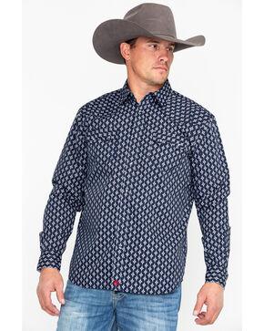 Moonshine Spirit Men's Inka Aztec Print Long Sleeve Western Shirt, Navy, hi-res