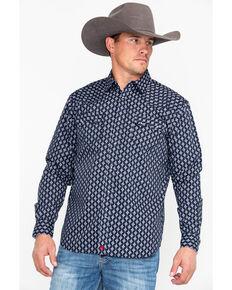 Moonshine Spirit Men's Inka Geo Print Long Sleeve Western Shirt, Navy, hi-res
