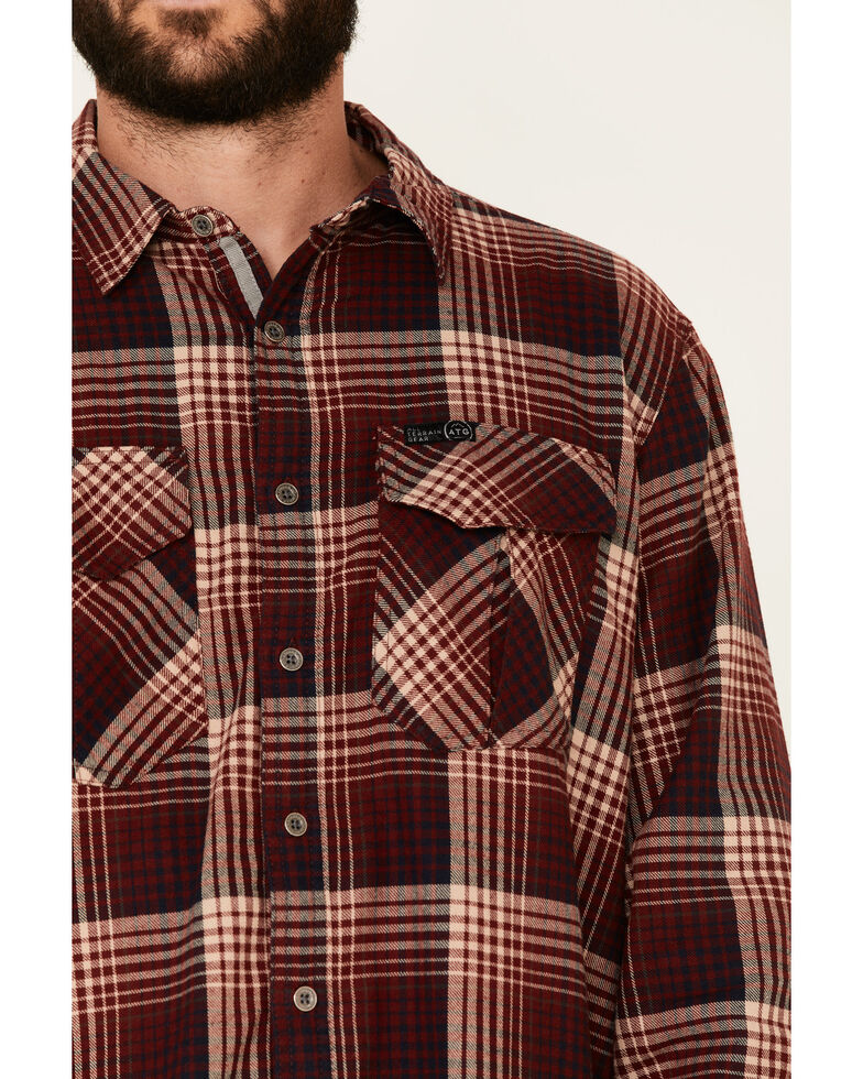 Wrangler All Terrain Men's Coffee Plaid Thermal Lined Long Sleeve Western Flannel Shirt - Big & Tall, Red, hi-res