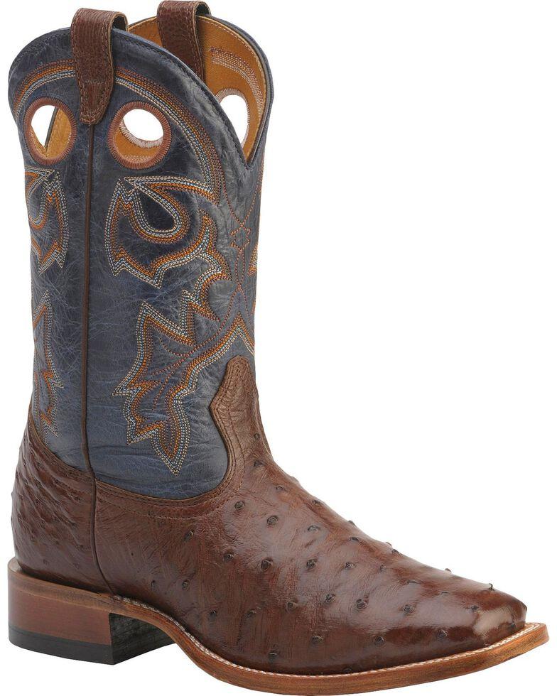 Boulet Full Quill Ostrich Cowboy Boots - Wide Square Toe, Cigar, hi-res