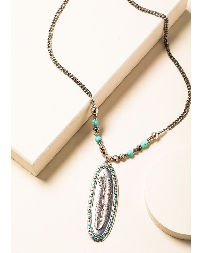 Shyanne Women's In The Oasis Feather Pendant Necklace , Silver, hi-res