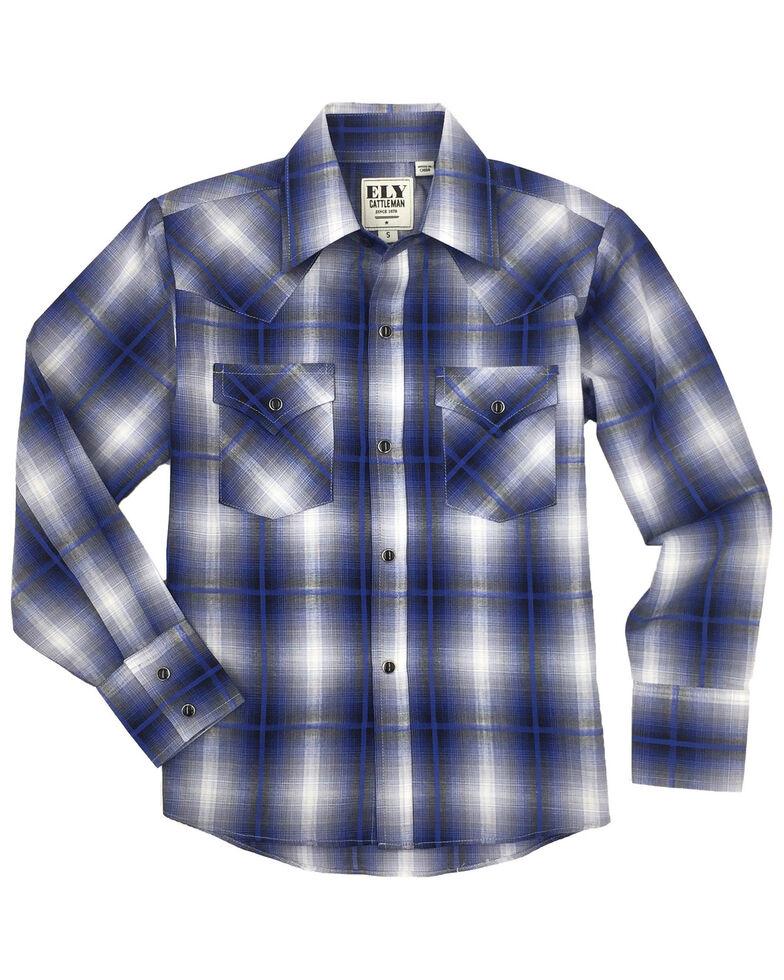 Ely Cattleman Boys' Navy Plaid Long Sleeve Western Shirt , Navy, hi-res