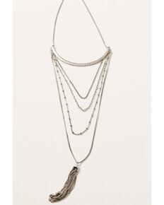 Howard's Women's Multi Row Chain Tassel Necklace, Silver, hi-res