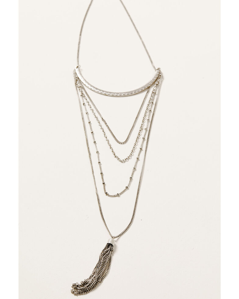 Howard's Women's Multi Row Chain Tassel Necklace, Silver, hi-res