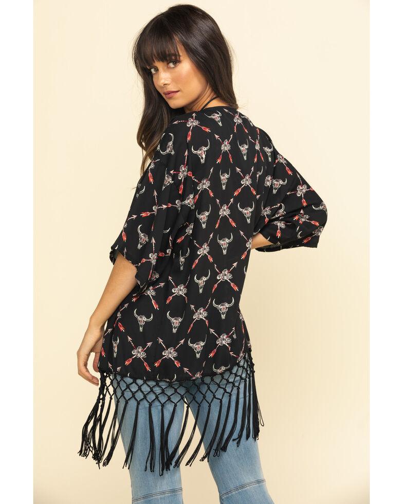 White Label by Panhandle Women's Black Print Fringe Kimono, Black, hi-res