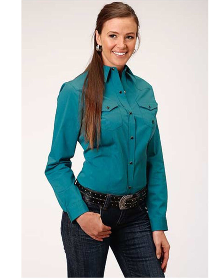 Amarillo Women's Turquoise Cool Pines Solid Long Sleeve Western Shirt , Turquoise, hi-res
