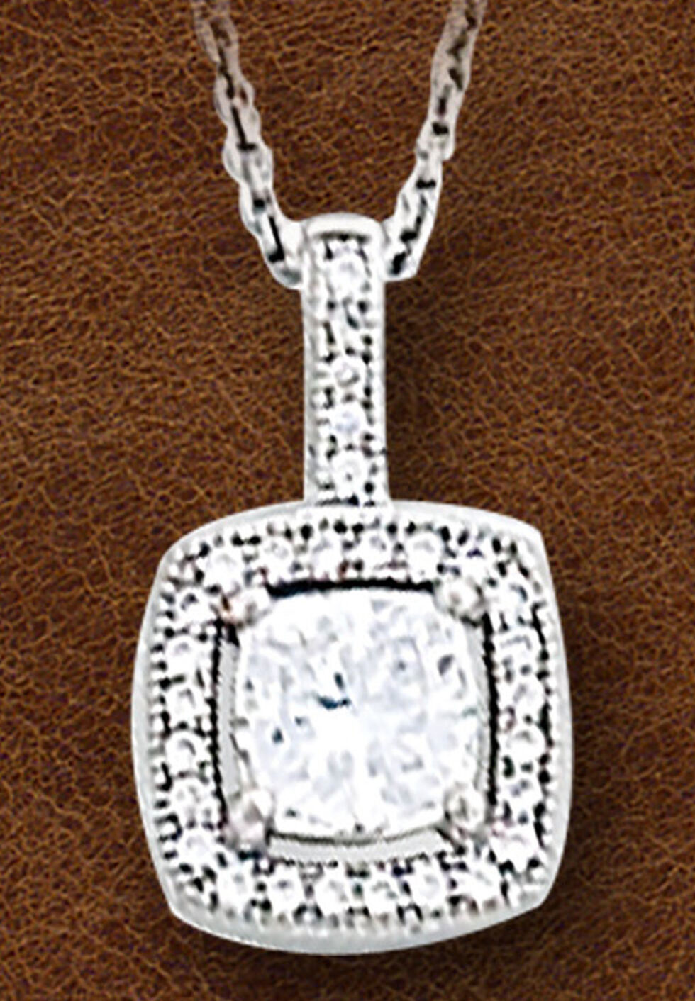 Kelly Herd Women's Sterling Silver Square Bezel Set Pave Necklace, Silver, hi-res