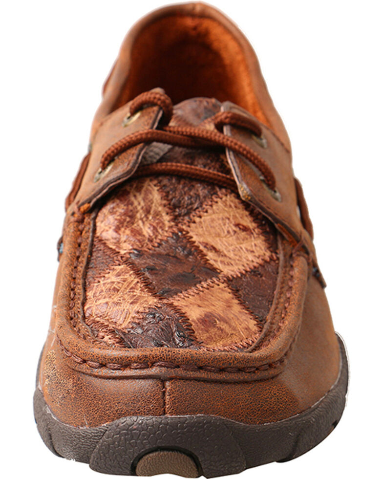 Twisted X Women's Driving Moccasins Oil Saddle Ostrich/Bomber Ostrich, Brown, hi-res