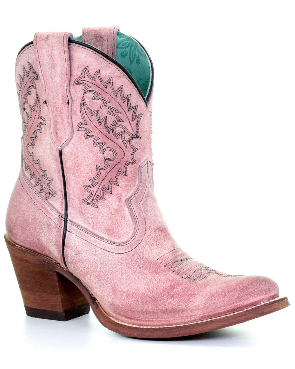 Corral Women's Rose Embroidery Western Booties - Round Toe, Pink, hi-res