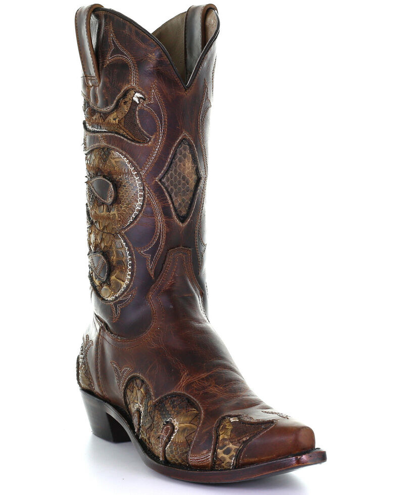 Corral Men's Honey Python Inlay Western Boots - Snip Toe, Honey, hi-res