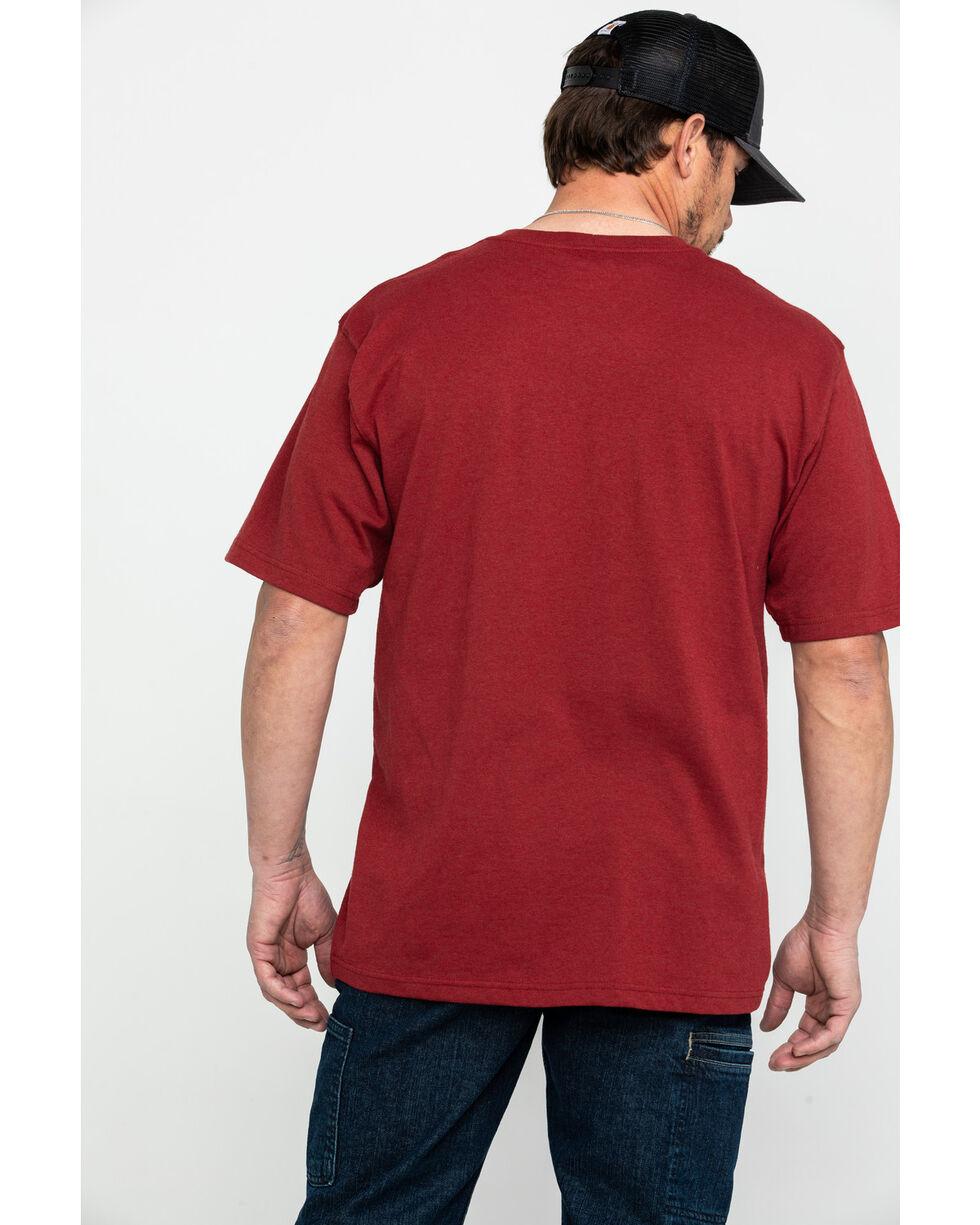 Carhartt Men's Signature Logo Short Sleeve Work T-Shirt - Big , Heather Red, hi-res