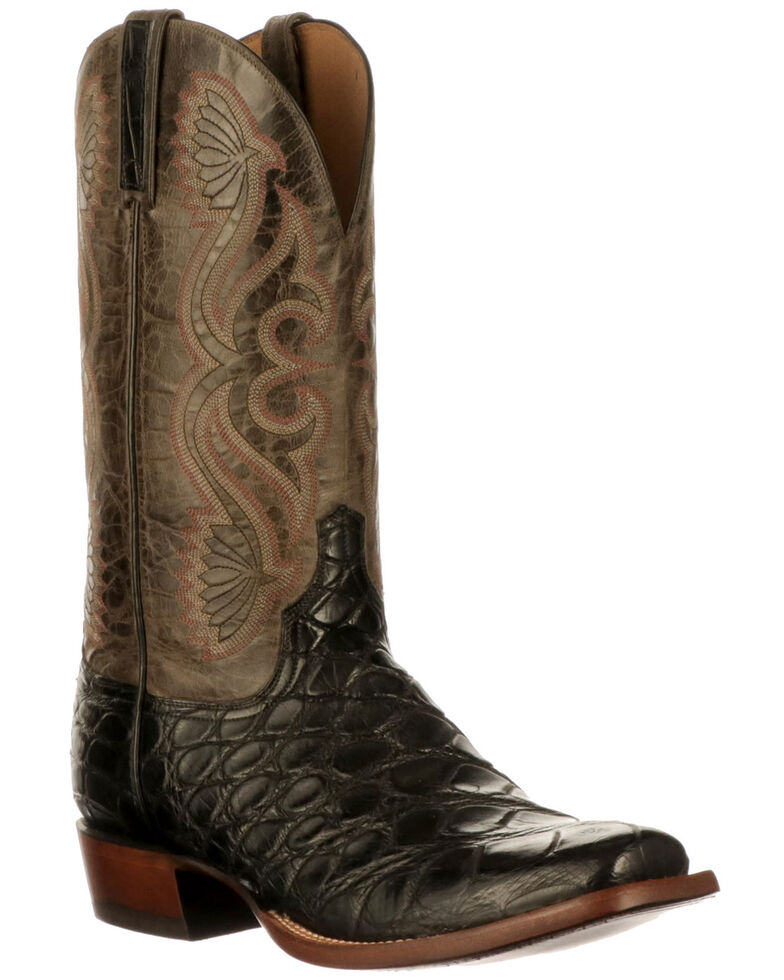 Lucchese Men's Roy Giant Gator Western Boots - Wide Square Toe, Black, hi-res