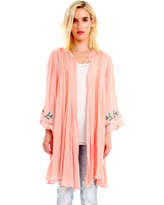 Aratta Women's Sweet Pea Kimono, Coral, hi-res