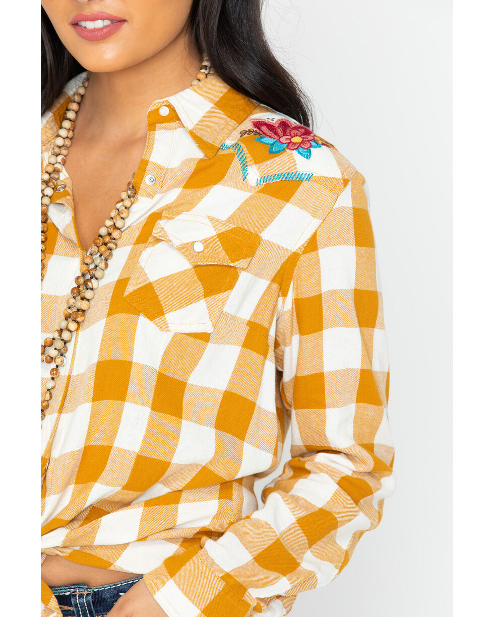 Wrangler Women's Retro Plaid Embroidered Long Sleeve Western Shirt, Dark Yellow, hi-res