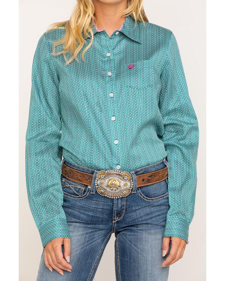 Cinch Women's Teal Micro Geo Button Long Sleeve Core Western Shirt , Teal, hi-res