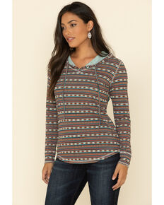 White Label by Panhandle Women's Multi Aztec Hoodie Pullover Tee, Multi, hi-res