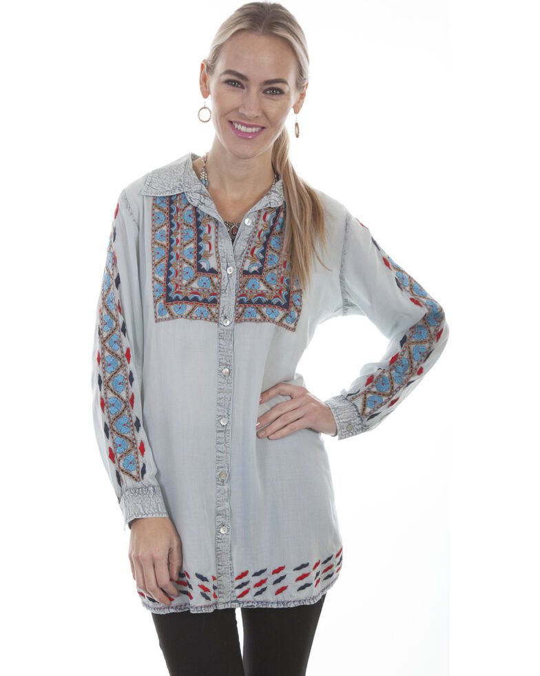 Scully Women's Embroidered Long Sleeve Shirt, Light Blue, hi-res