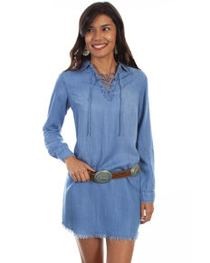 Honey Creek by Scully Women's Criss Cross Tie Neck Denim Dress , Blue, hi-res