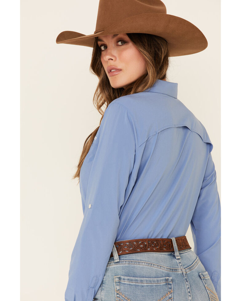 Ariat Women's Blue Solid Vent Tek Stretch Long Sleeve Western Core Shirt , Blue, hi-res