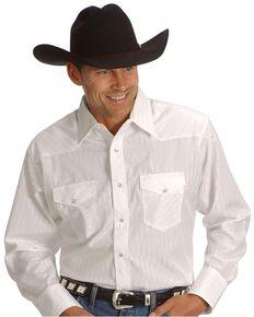 Wrangler Silver Edition Men's Long Sleeve Western Shirt , White, hi-res
