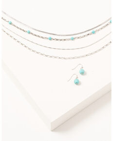 Shyanne Women's Silver & Turquoise Beaded 4-piece Layered Necklace and Earrings Set, Silver, hi-res