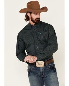 Cinch Men's Peacock Geo Print Long Sleeve Western Shirt , Navy, hi-res