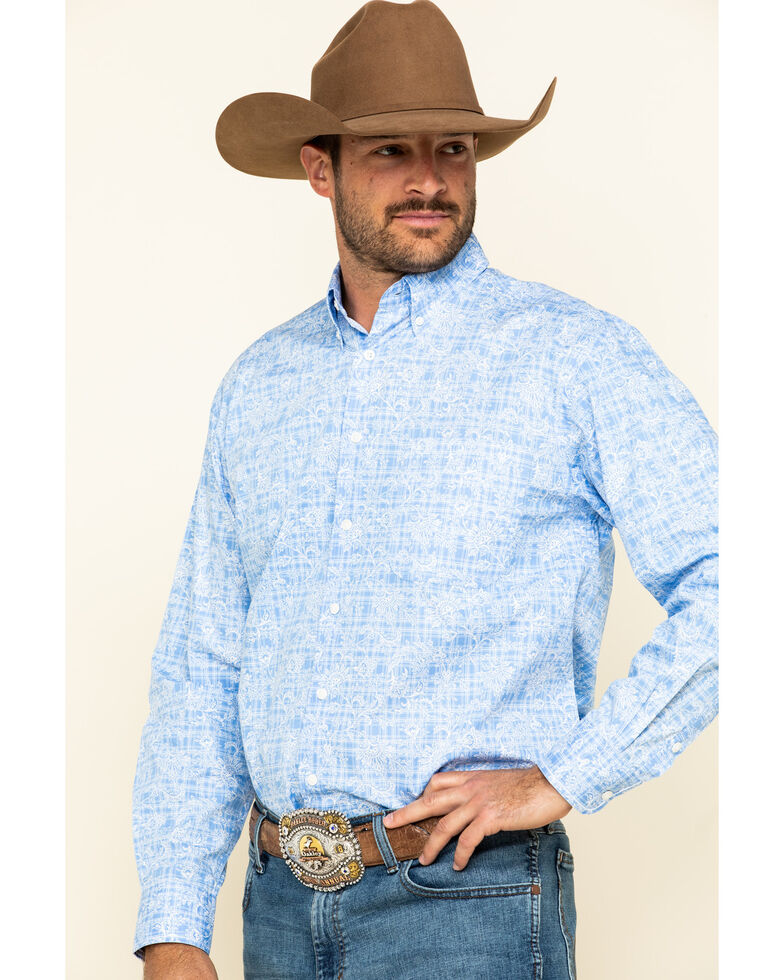 Rough Stock By Panhandle Men's Wimberly Floral Print Long Sleeve Western Shirt , Light Blue, hi-res