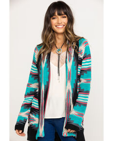 Rock & Roll Cowgirl Women's Turquoise Aztec Cardigan , Turquoise, hi-res
