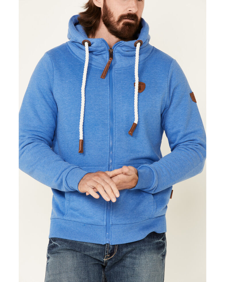 Wanakome Men's Solid Blue Zeus French Terry Zip-Front Hooded Sweatshirt , Blue, hi-res