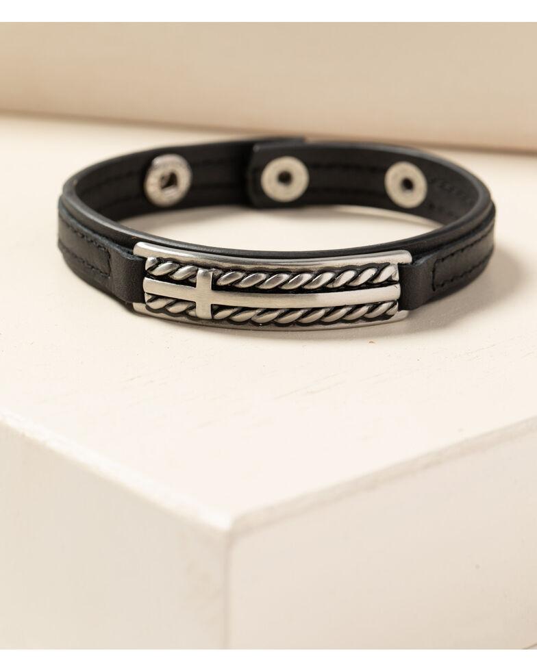 Cody James Men's Leather Roped Cross Snap Bracelet, Black, hi-res