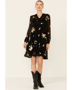 Olive Hill Women's Embroidered Floral Odessa Chiffon Dress, Black, hi-res