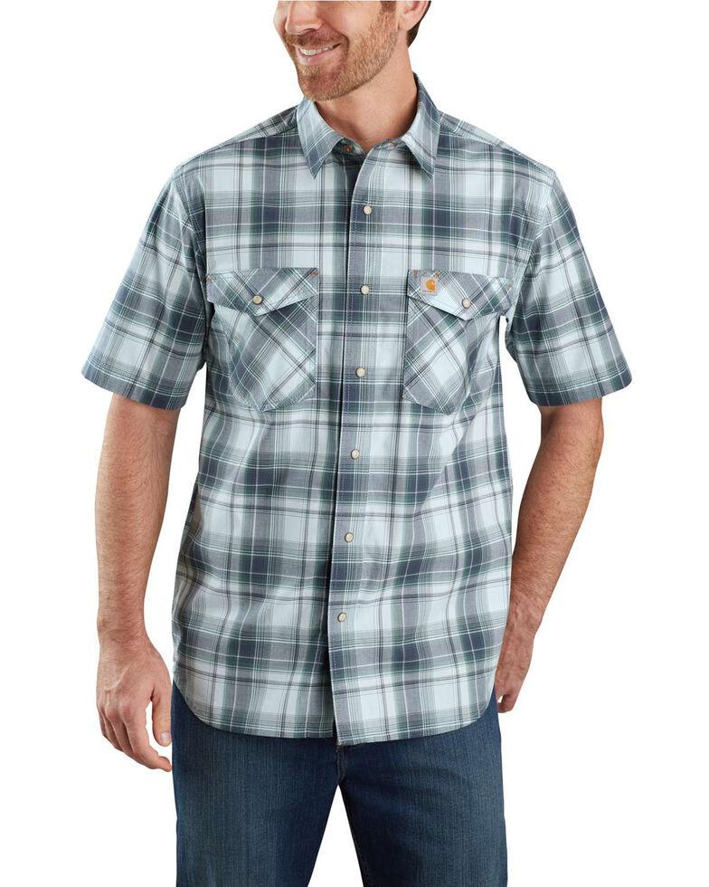Carhartt Men's Blue Rugged Flex Bozeman Plaid Short Sleeve Work Shirt , Blue, hi-res