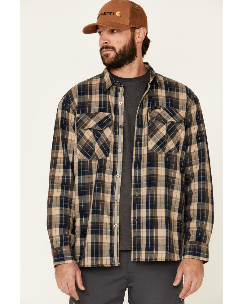 ATG™ by Wrangler All Terrain Men's Dark Sapphire Plaid Thermal Lined Long Sleeve Western Flannel Shirt , Blue, hi-res