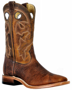 Boulet Men's Western Boots - Wide Square Toe, Brown, hi-res