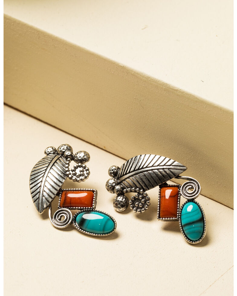 Shyanne Women's In The Oasis Feather Stone Earrings , , hi-res