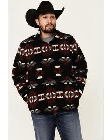 Wrangler Men's Black Aztec Sherpa 1/4 Zip Pullover , Black, hi-res