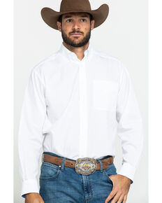 Ariat Men's White Wrinkle Free Button Long Sleeve Western Shirt - Big , White, hi-res