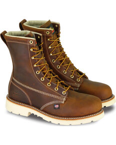 "Thorogood Men's American Heritage Classics 8"" Work Boots - Steel Toe, Brown, hi-res"