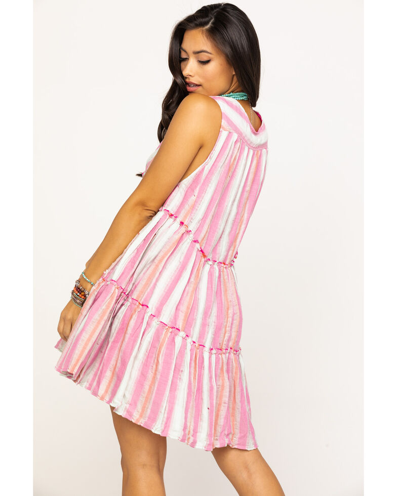 Free People Women's Do It Again Stripe Button Down Mini Dress, Pink, hi-res