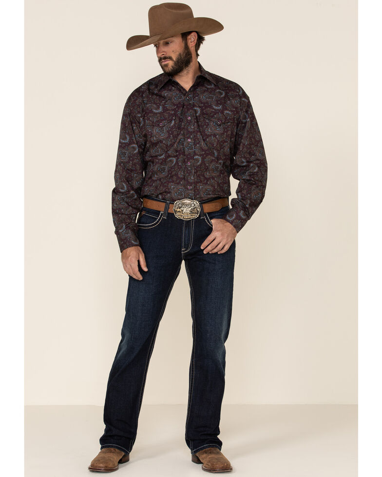 Stetson Men's Wine Paisley Print Long Sleeve Western Shirt , Burgundy, hi-res