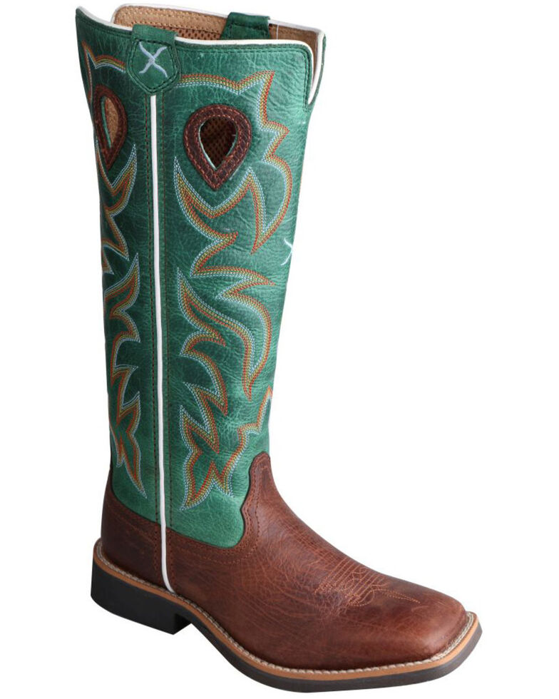Twisted X Children's Turquoise Buckaroo Cowboy Boots - Square Toe, Cognac, hi-res