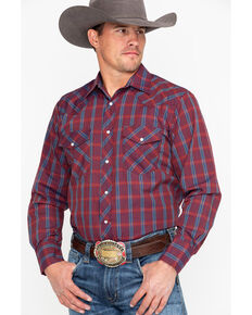 Roper Men's Wine Medium Plaid Long Sleeve Western Shirt, Wine, hi-res