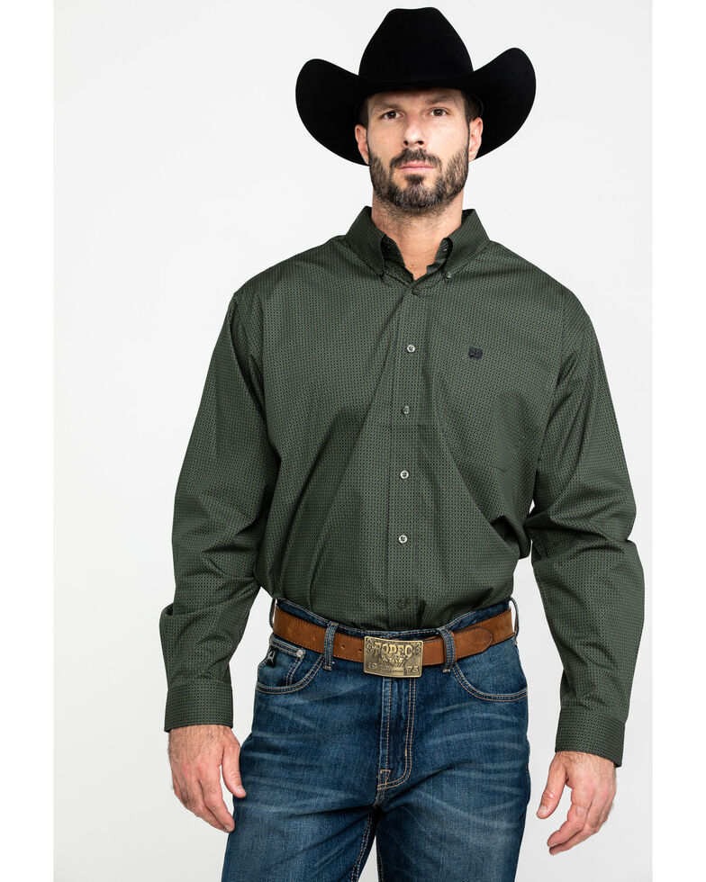 Cinch Men's Olive Geo Print Long Sleeve Western Shirt , Olive, hi-res