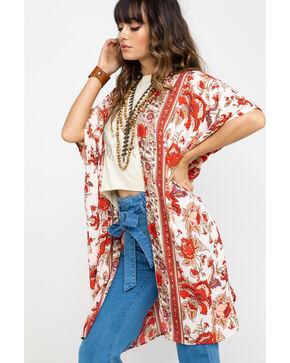 Angie Women's Cream & Rust Floral Kimono, Rust Copper, hi-res