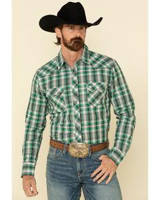 Wrangler Retro Men's Green Small Plaid Long Sleeve Western Shirt , Green, hi-res