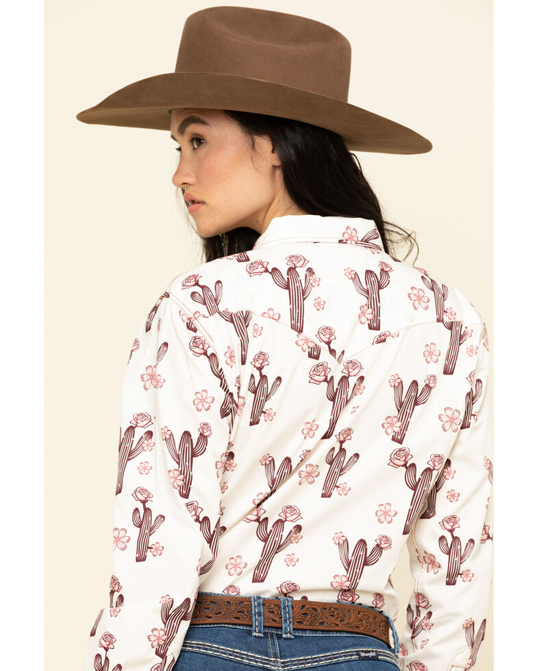 Cowgirl Hardware Women's Ivory Cactus Rose Long Sleeve Western Shirt, Ivory, hi-res