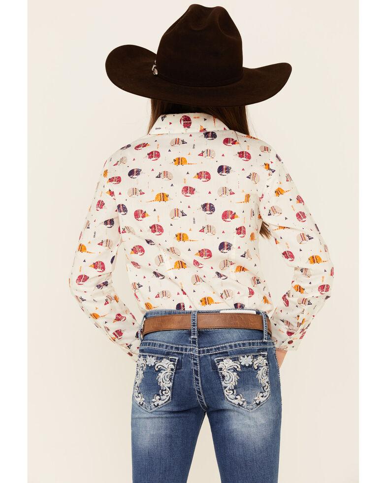 Cruel Girl Girls' Cream Armadillo Print Snap Long Sleeve Western Shirt , Cream, hi-res