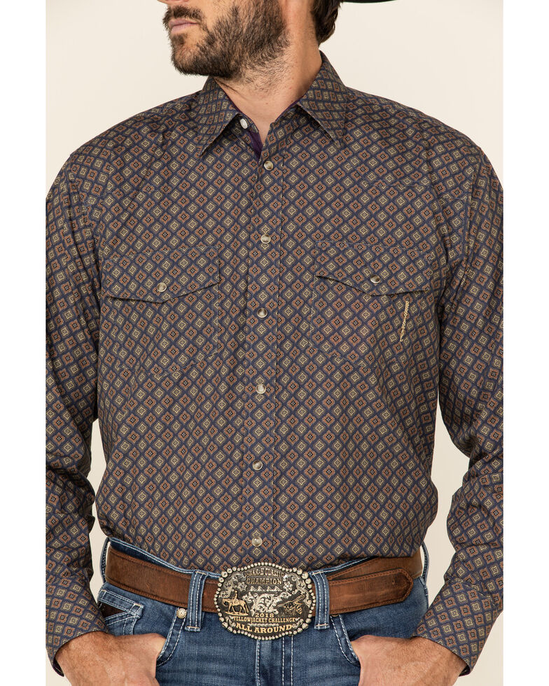 Resistol Men's Navy Byron Geo Print Long Sleeve Western Shirt  , Navy, hi-res