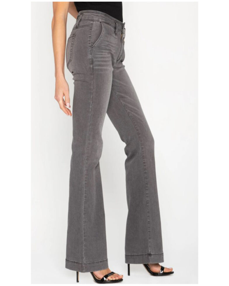 Miss Me Women's Can't Stop Her Flare Jeans, Grey, hi-res