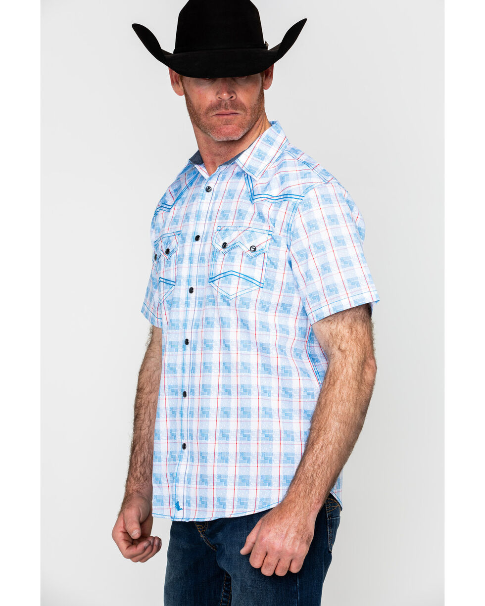 Cody James Men's Crooks Cross Plaid Short Sleeve Western Shirt , Turquoise, hi-res
